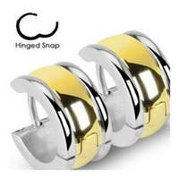 Stainless Steel Hinged Wide Hoop Earrings with Gold Plate Center Layer
