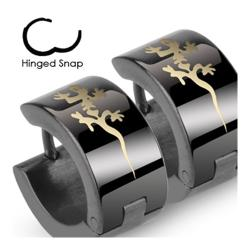 Stainless Steel Black Hinged Hoop Wide Earrings with Tribal Gecko - Thumbnail 0