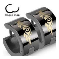 Stainless Steel Black Hinged Hoop Earrings with Tribal Design