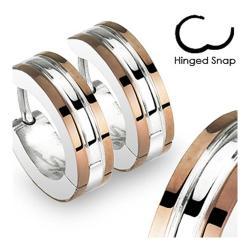 Stainless Steel 2 Tone Hoop Earrings with Coffee Plated Edges