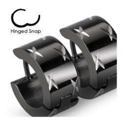 Stainless Steel Black Hinged Hoop Wide Earrings with Multi DiaCuts