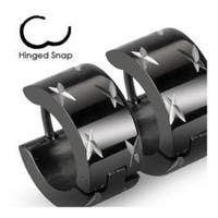 Stainless Steel Black Hinged Hoop Wide Earrings with Multi DiaCuts