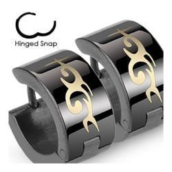 Stainless Steel Black Hinged Hoop Earrings with Tribal Design
