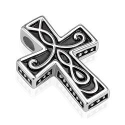Tribal Pattern Cast Cross Stainless Steel Pendant (21.7 mm Width) - Thumbnail 0