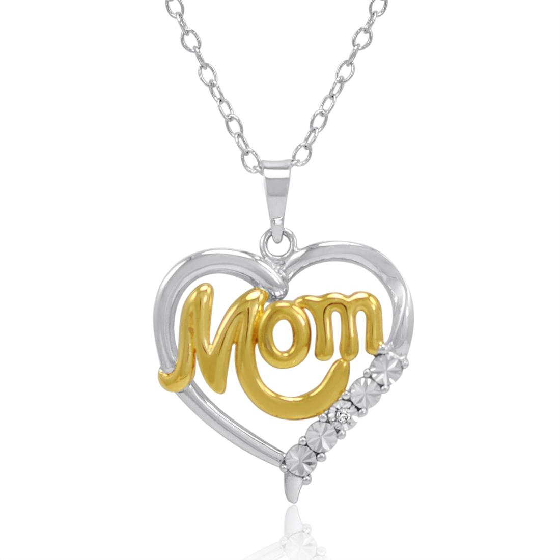 Amanda Rose Collection Sterling Silver Mom in Heart Diamond Pendant Necklace