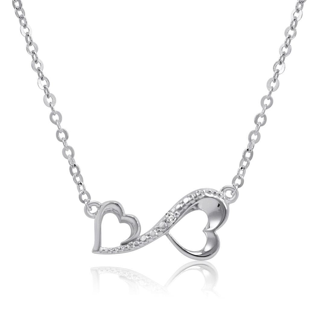 Amanda Rose Collection Diamond Infinity Heart Necklace in Sterling Silver