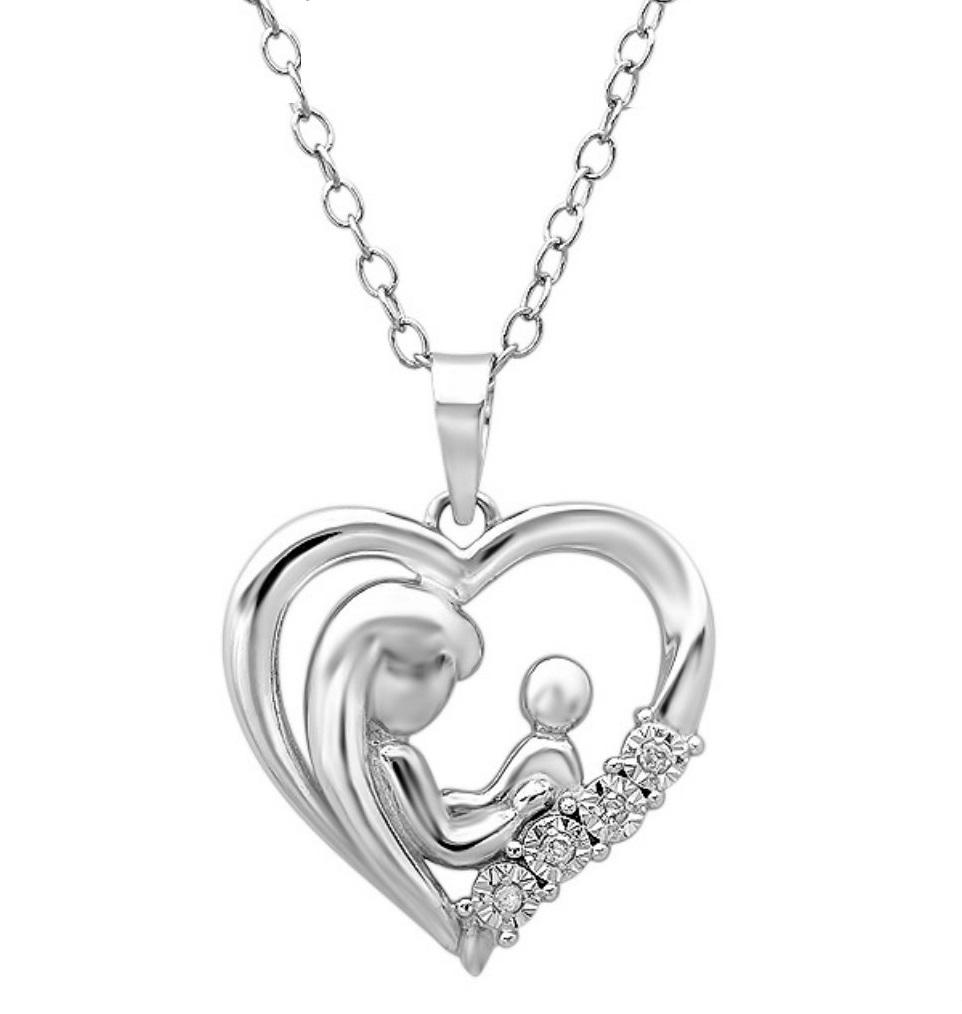 Amanda Rose Collection Mother with Child Diamond Heart Pendant-Necklace in Sterling Silver