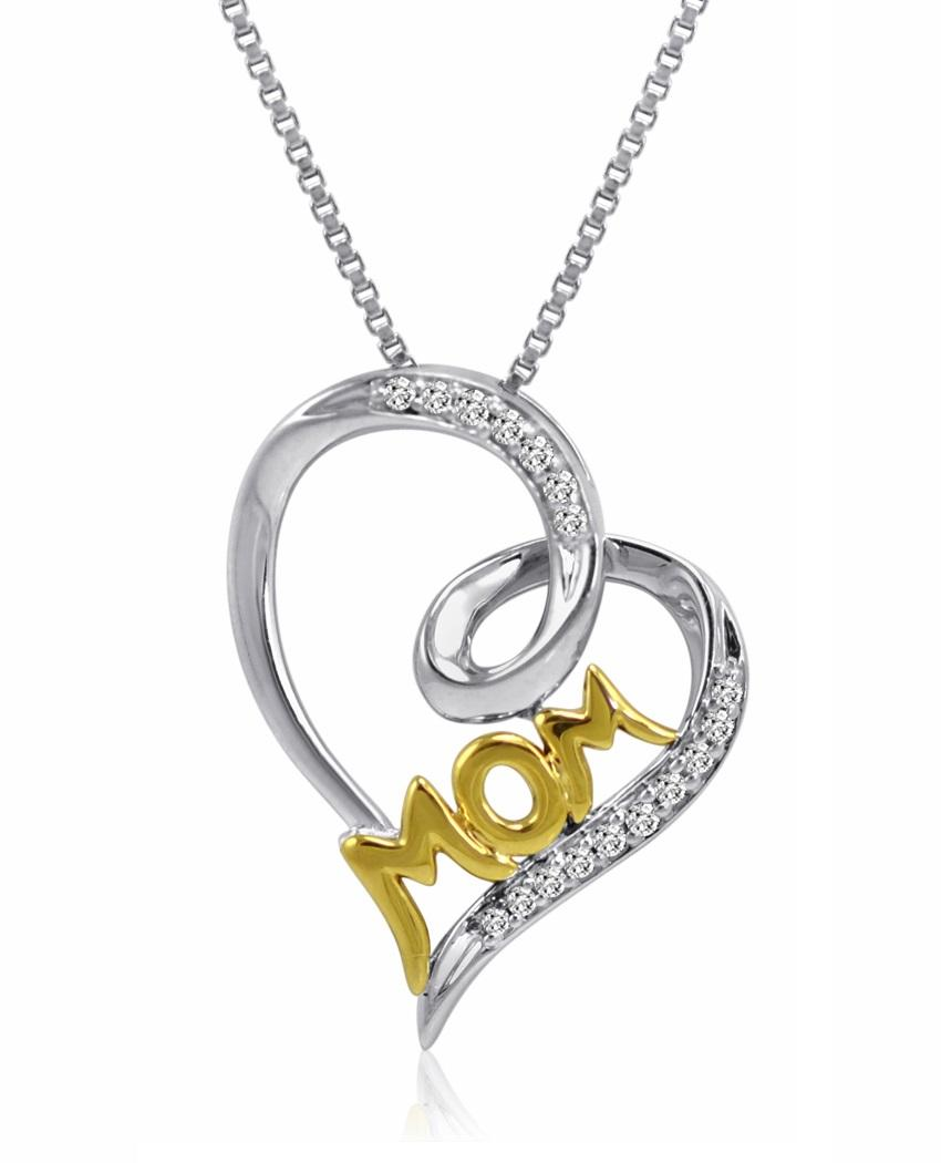 Amanda Rose Collection Sterling Silver and 14K gold Mom in Heart Diamond Pendant-Necklace with IGI Certificate