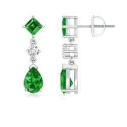 Angara 7mm Lab Created Pear, Square Emerald and Simulated Diamond Drop Earrings in 14K White Gold