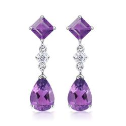 Angara 10mm Pear, Square Amethyst and Diamond Drop Earrings in 14K White Gold