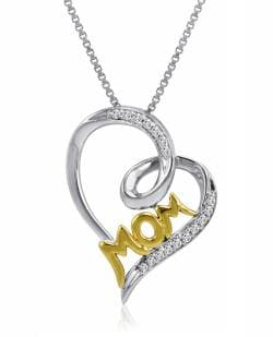 Amanda Rose Collection Sterling Silver and 14K gold Mom in Heart Diamond Pendant-Necklace with IGI Certificate - Thumbnail 0