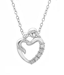 Amanda Rose Collection Mother with Child Diamond Heart Pendant-Necklace in Sterling Silver - Thumbnail 0