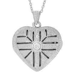 Journee Collection Sterling Silver Cubic Zirconia Heart Locket Necklace