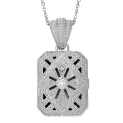 Journee Collection Sterling Silver Cubic Zirconia Rectangle Locket Necklace