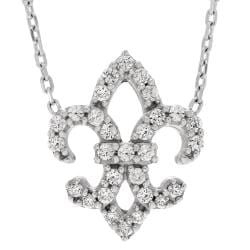 Journee Collection Sterling Silver Cubic Zirconia Fleur-De-Lis Pendant