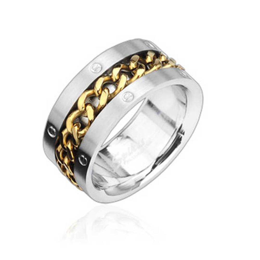 Stainless Steel Ring with Gold Spinning Chain Center