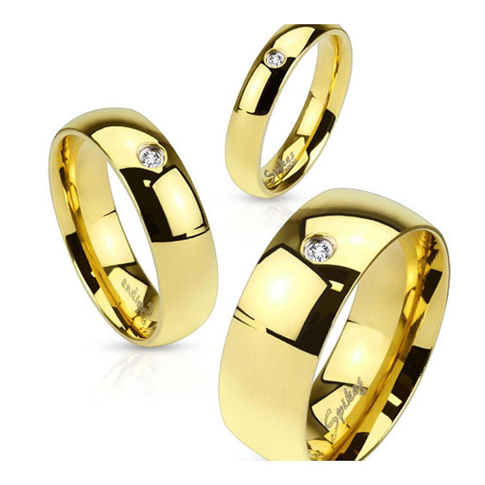 Gold IP Plated 8mm Stainless Steel Wedding Band with CZ