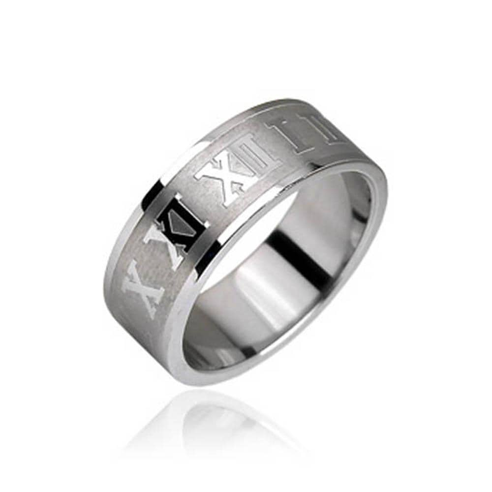 Roman Numerals 316L Stainless Steel Ring