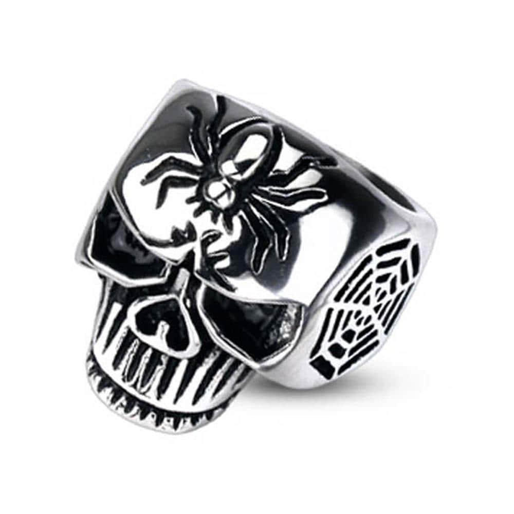 Stainless Steel Spider Web Skull Cast Ring