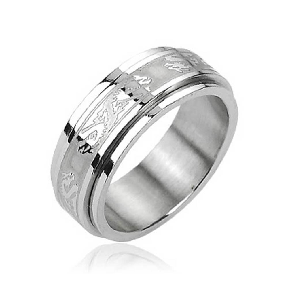 Stainless Steel Double Dragon Center Spinner Ring