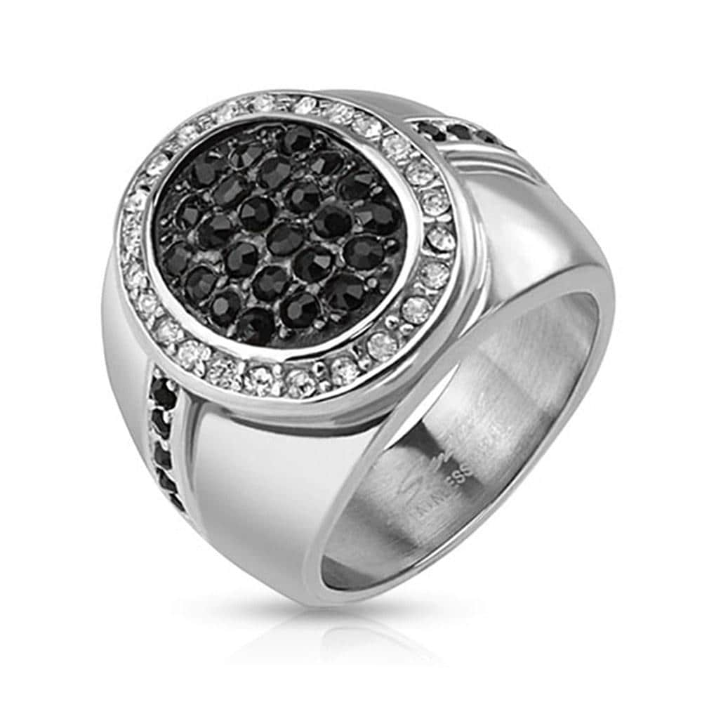 Micro Paved Oval Center Two Toned Stainless Steel Cast Ring