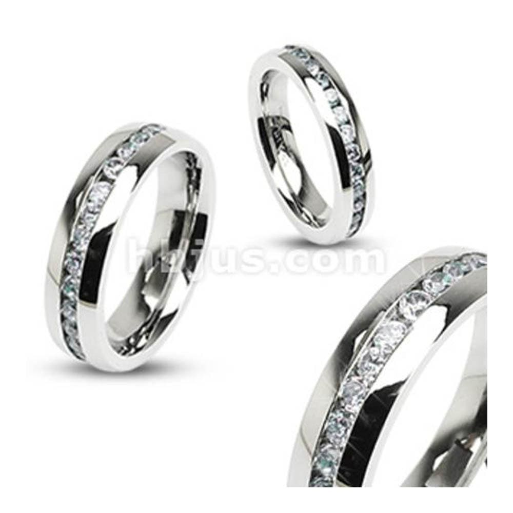Eternity Clear Gems Stainless Steel 8mm Ring - Thumbnail 0