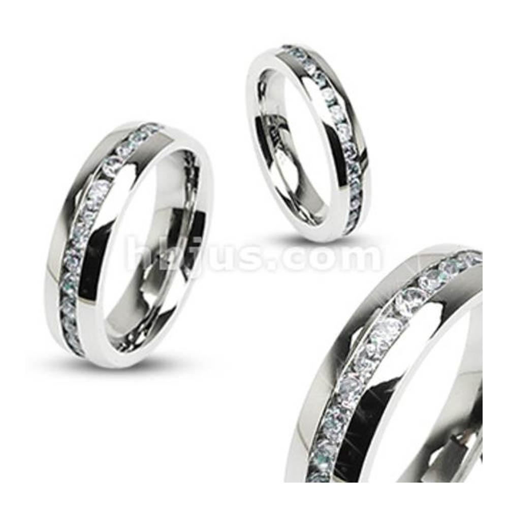 Eternity Clear Gems Stainless Steel 8mm Ring