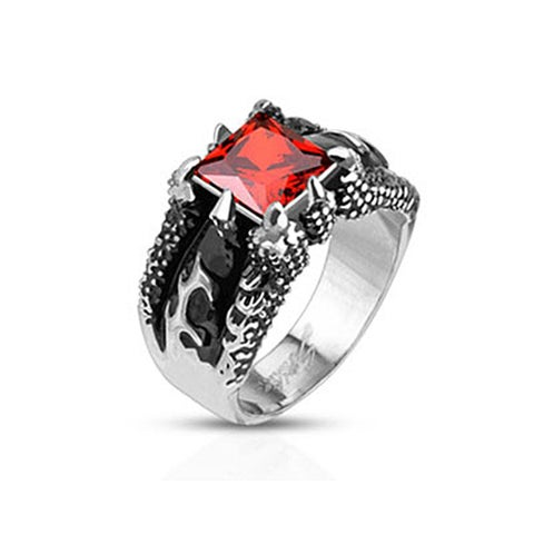 Fire Dragon Claw Set Ruby Red Square Gem Cast Stainless Steel Ring