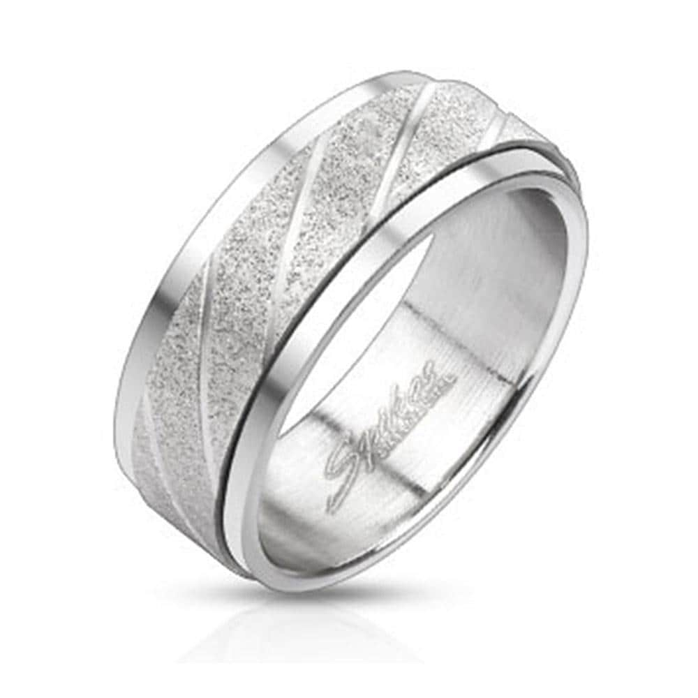 Swirl Grooved Center Two Tone Spinner Stainless Steel Ring