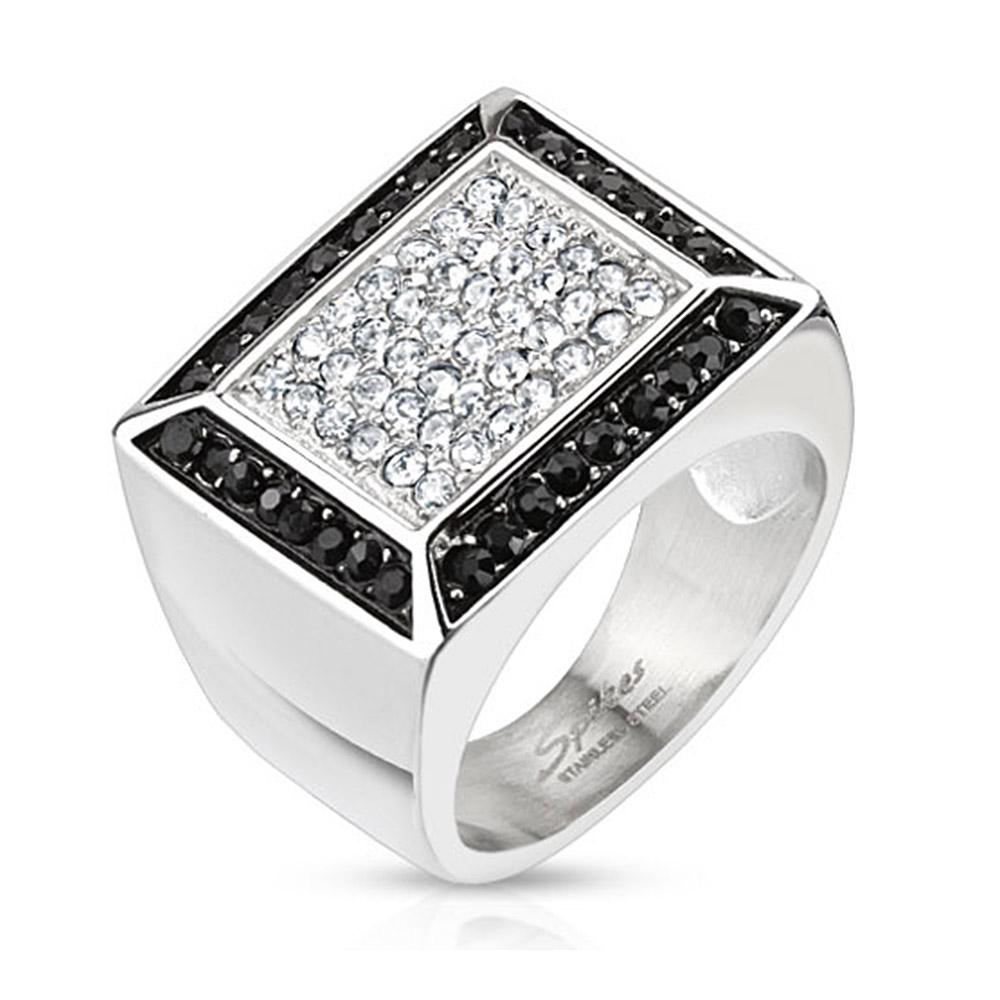 Micro Paved Clear CZs with Black CZ Border Square Cast Stainless Steel Ring