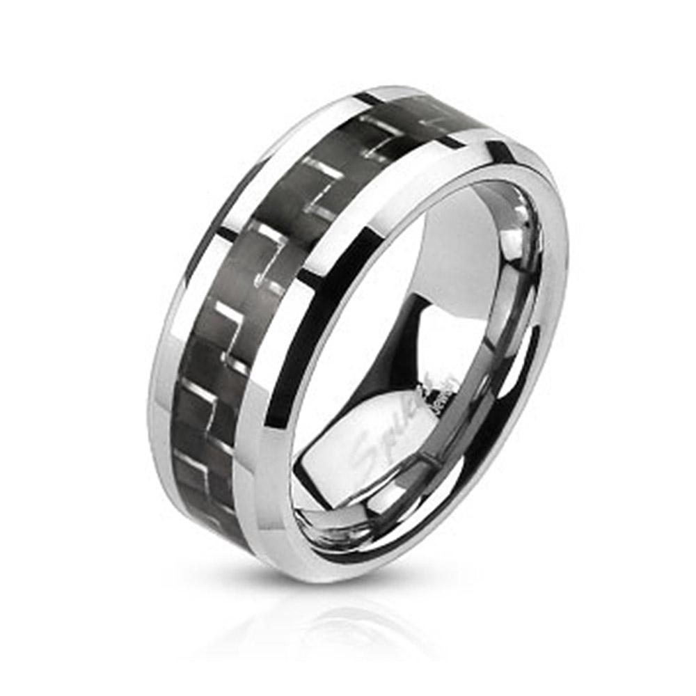 Black Carbon Fiber Inlay Band Stainless Steel Ring