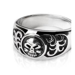 Stainless Steel Ring with Skull Design - Thumbnail 0