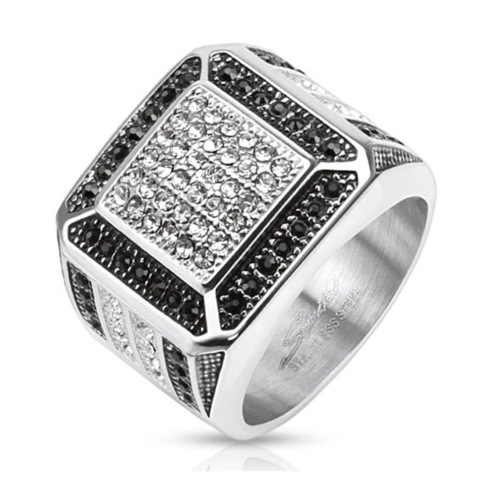 Clear w/ Black CZ Border Micro Paved Cast Stainless Steel Ring