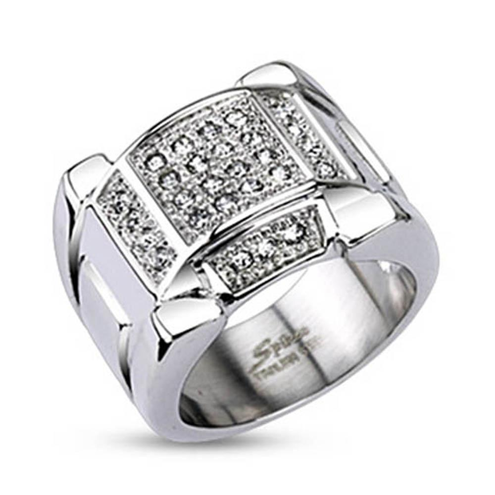 Stainless Steel Micro Paved Multi Clear CZs Arc Top Band Ring
