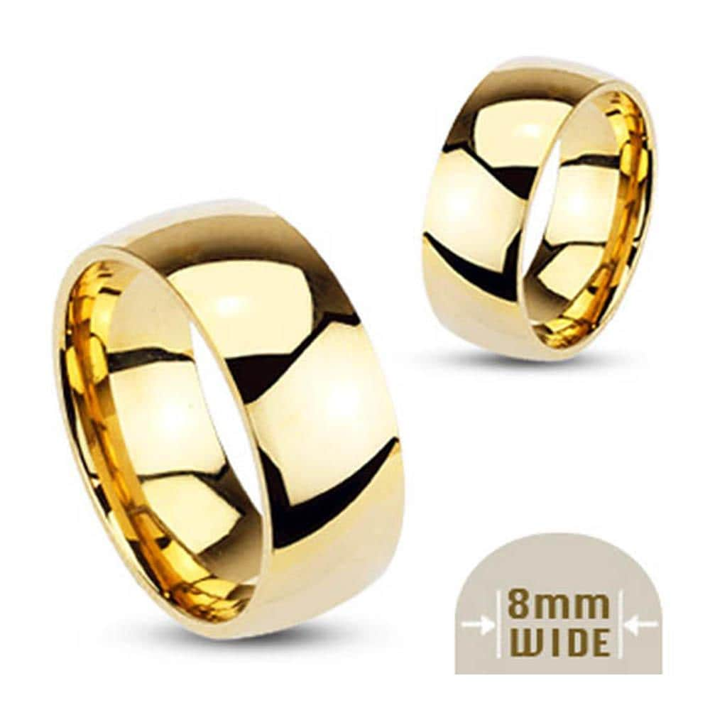 Stainless Steel Gold Plated 8mm Wide Glossy Mirror Polished Wedding Band Ring