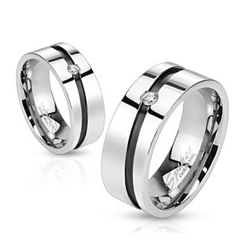 Diagonal Cut Line with Center Gem Stainless Steel Black IP 8mm Ring