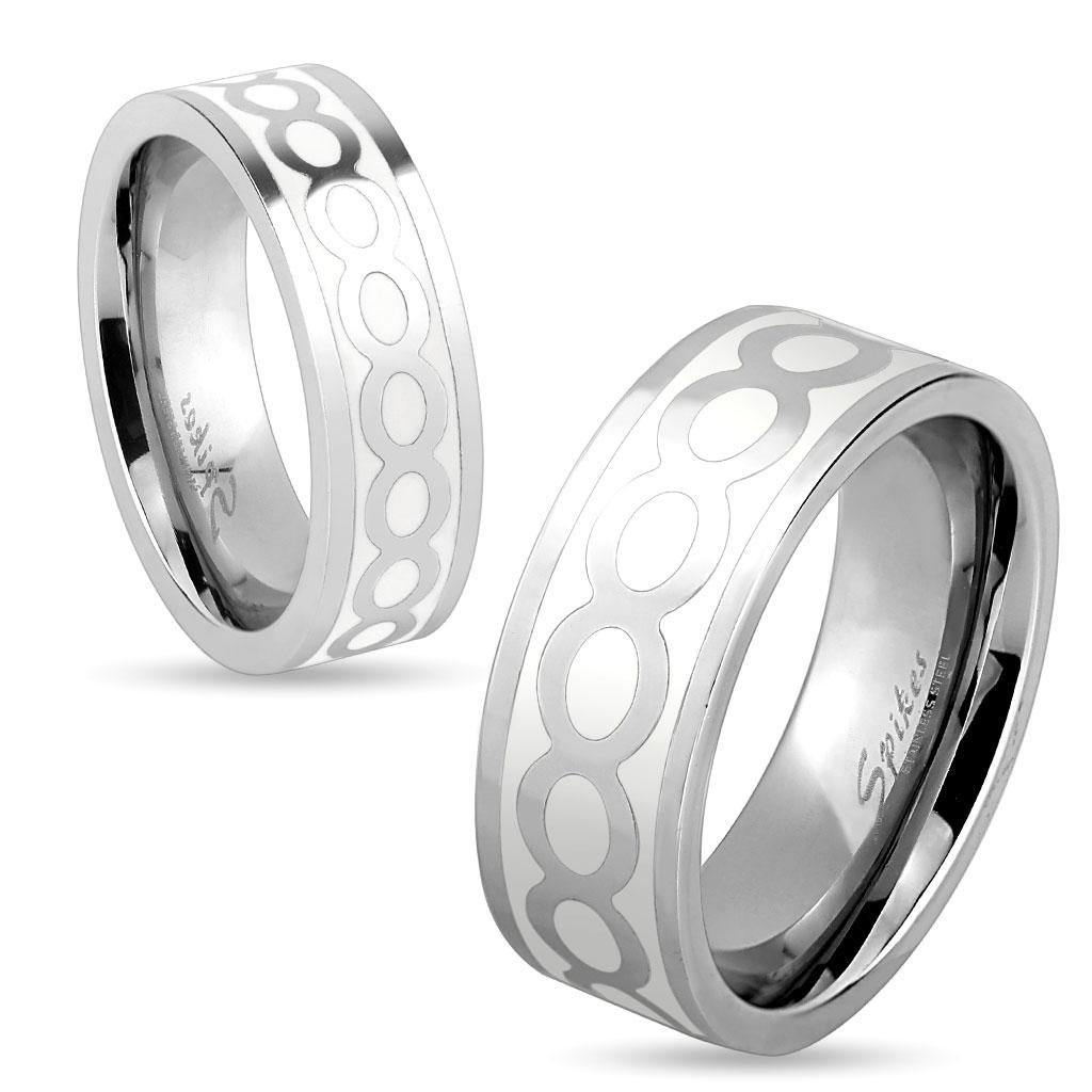 Shiny Infinite White Enamel Stainless Steel Ring