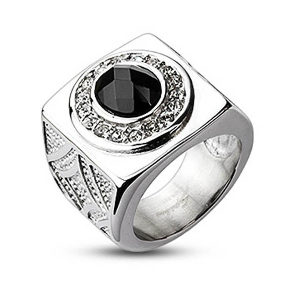 Stainless Steel Oval Onyx Gem with Clear CZ Dial Wide Cast Ring