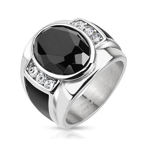 Diamond Cut Onyx Stone with Black Enamel Sides Cast Stainless Steel Ring