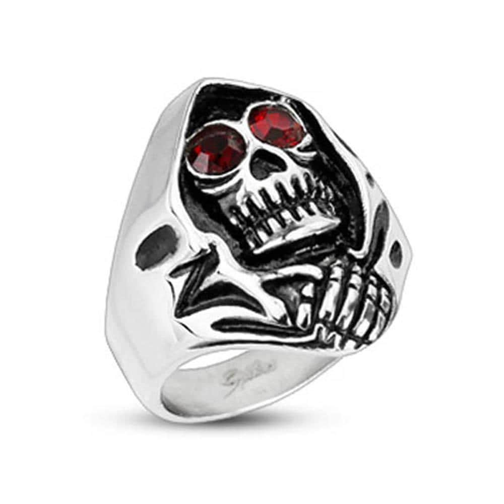 Stainless Steel Red CZ Eyed Grim Reaper Wide Cast Ring