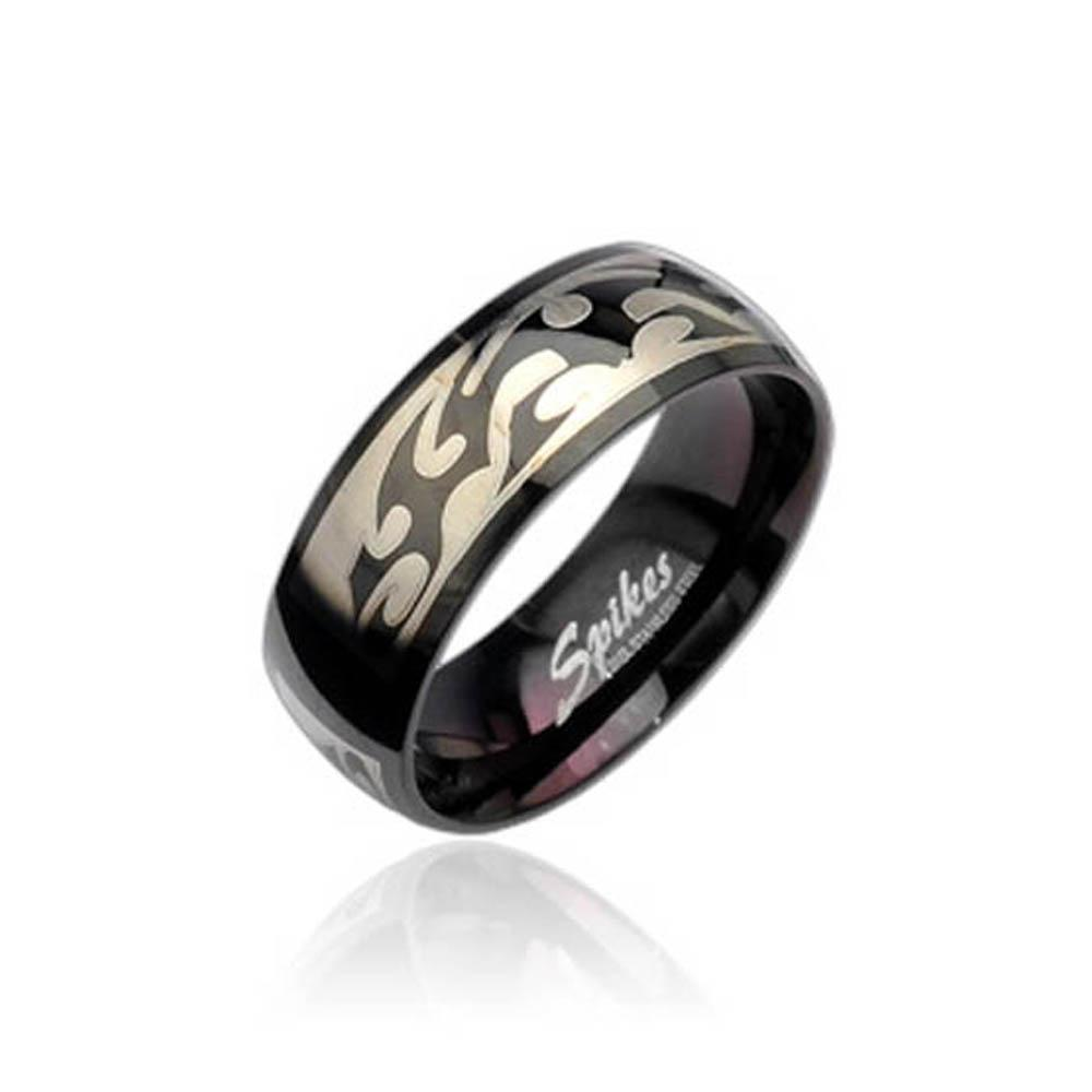 Stainless Steel Black Ring with Tribal Engraving