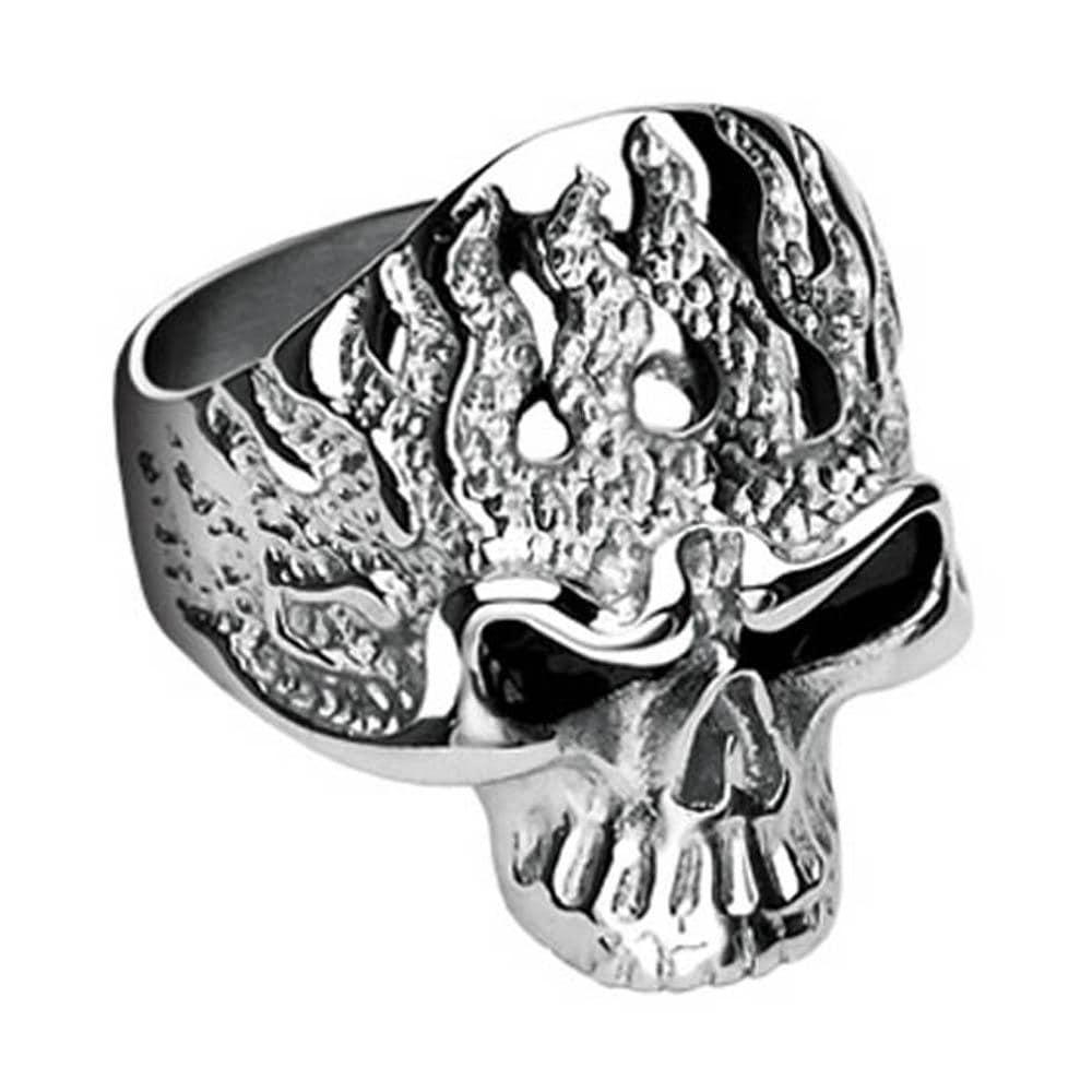 Stainless Steel Flam'in Skull Ring