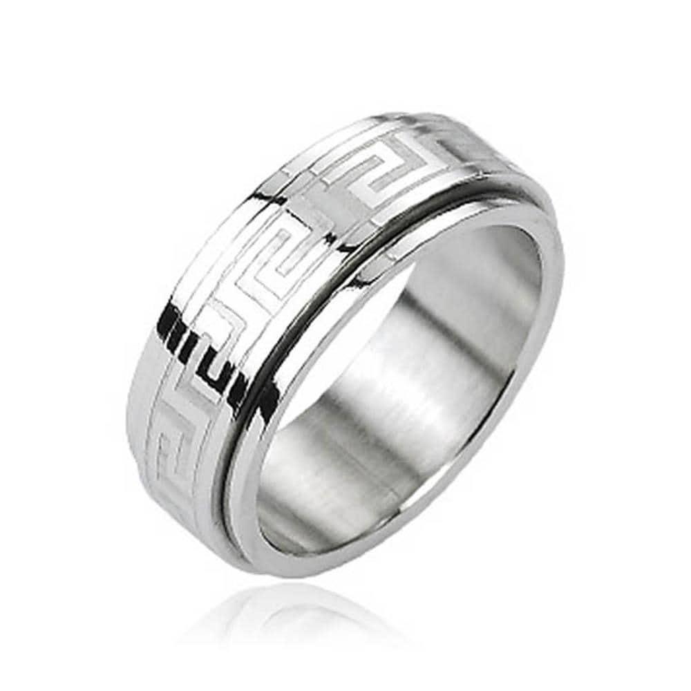 Stainless Steel Tribe Maze Center Spinner Ring