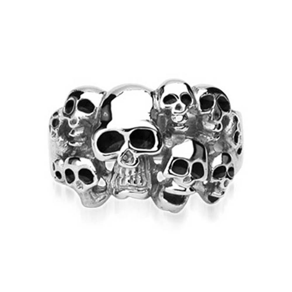 """Stainless Steel """"10 Skull"""" Ring"""