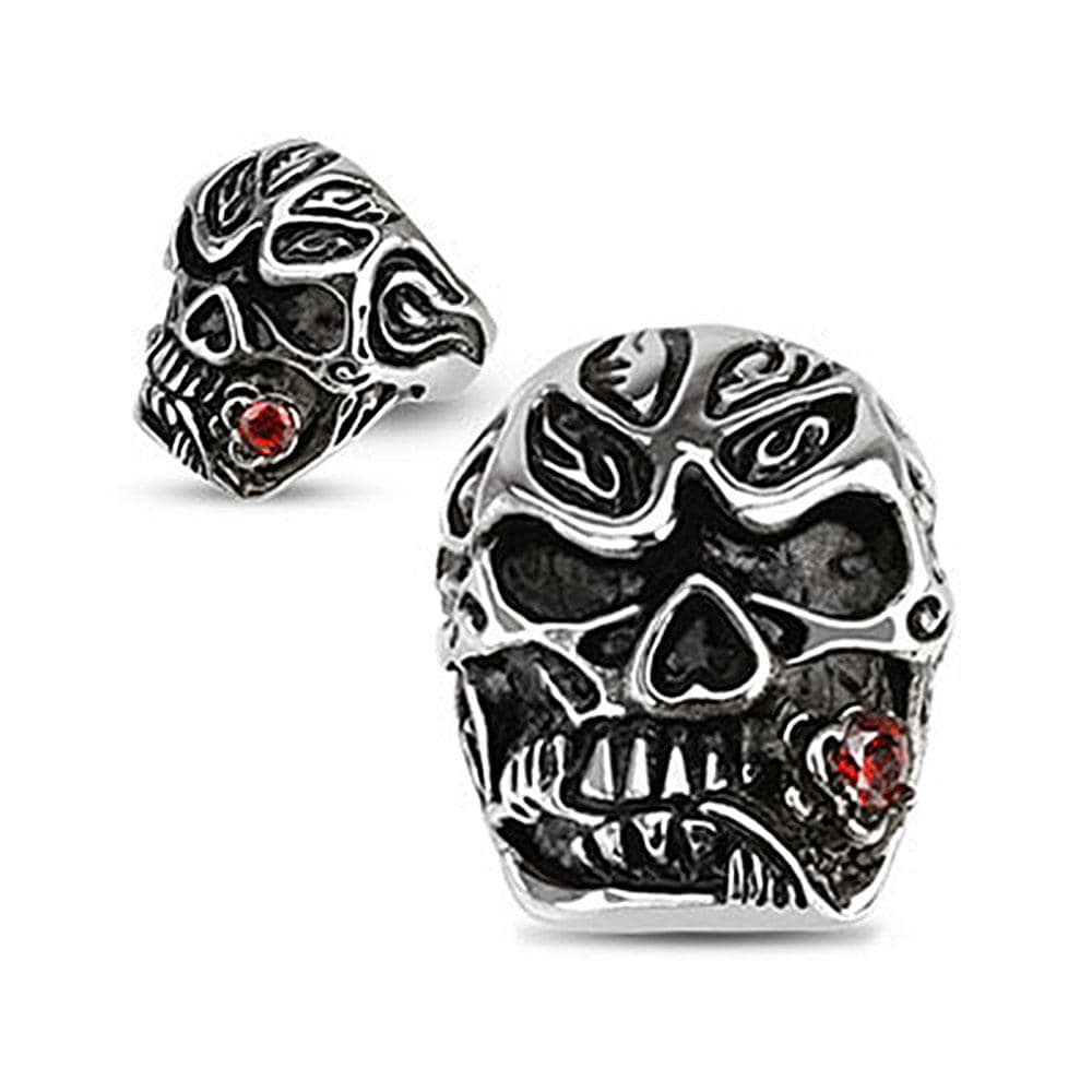 Salsa Dancer Skull with Rose Red CZ Cast Stainless Steel Ring