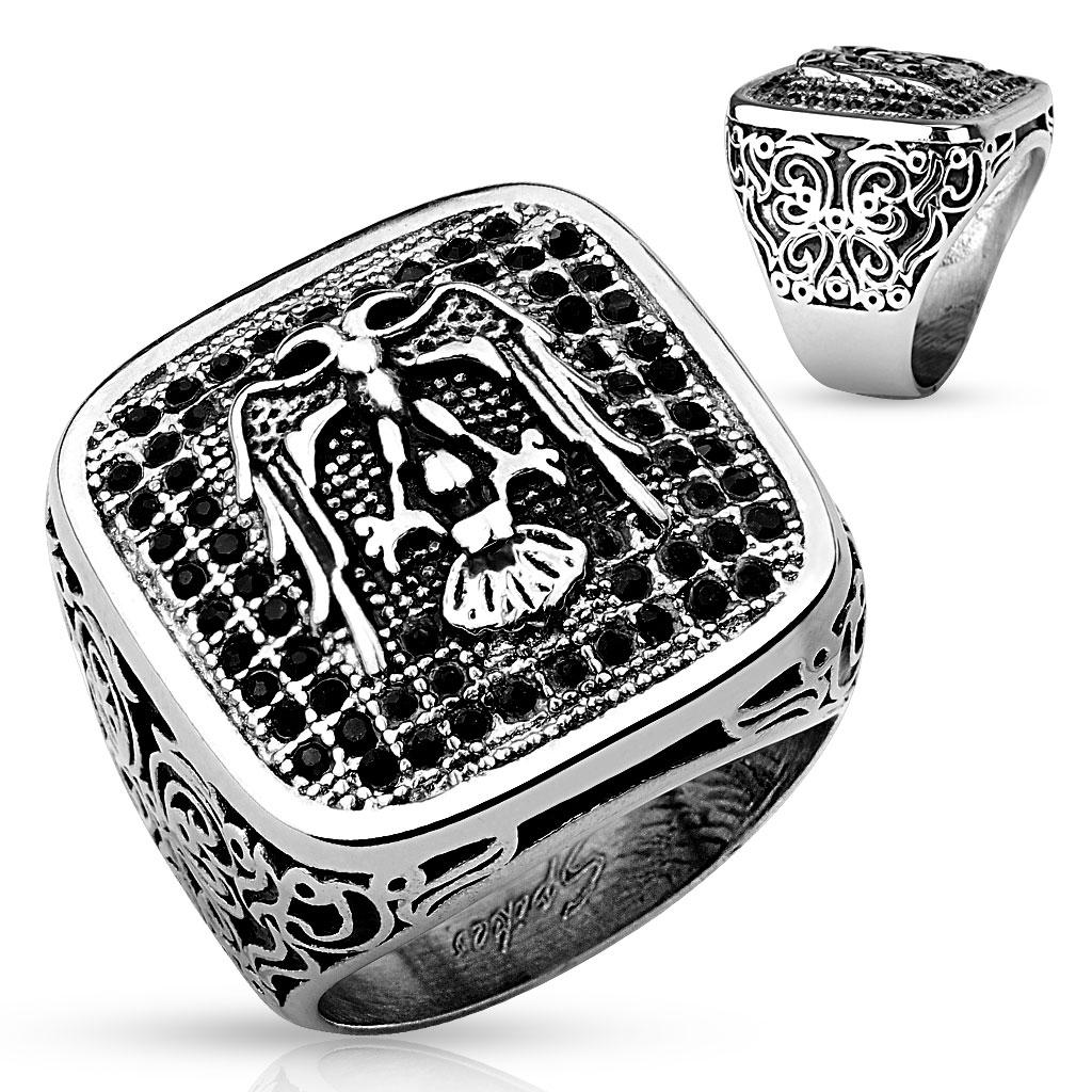 Paved Gem Eagle Design Stainless Steel Biker Cast Ring