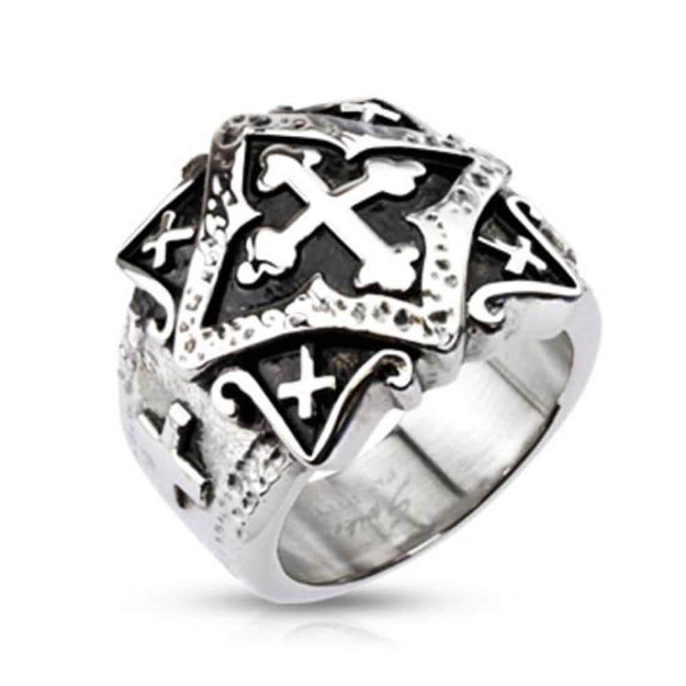 Stainless Steel Ornamental Multi Cross Plate Wide Cast Ring