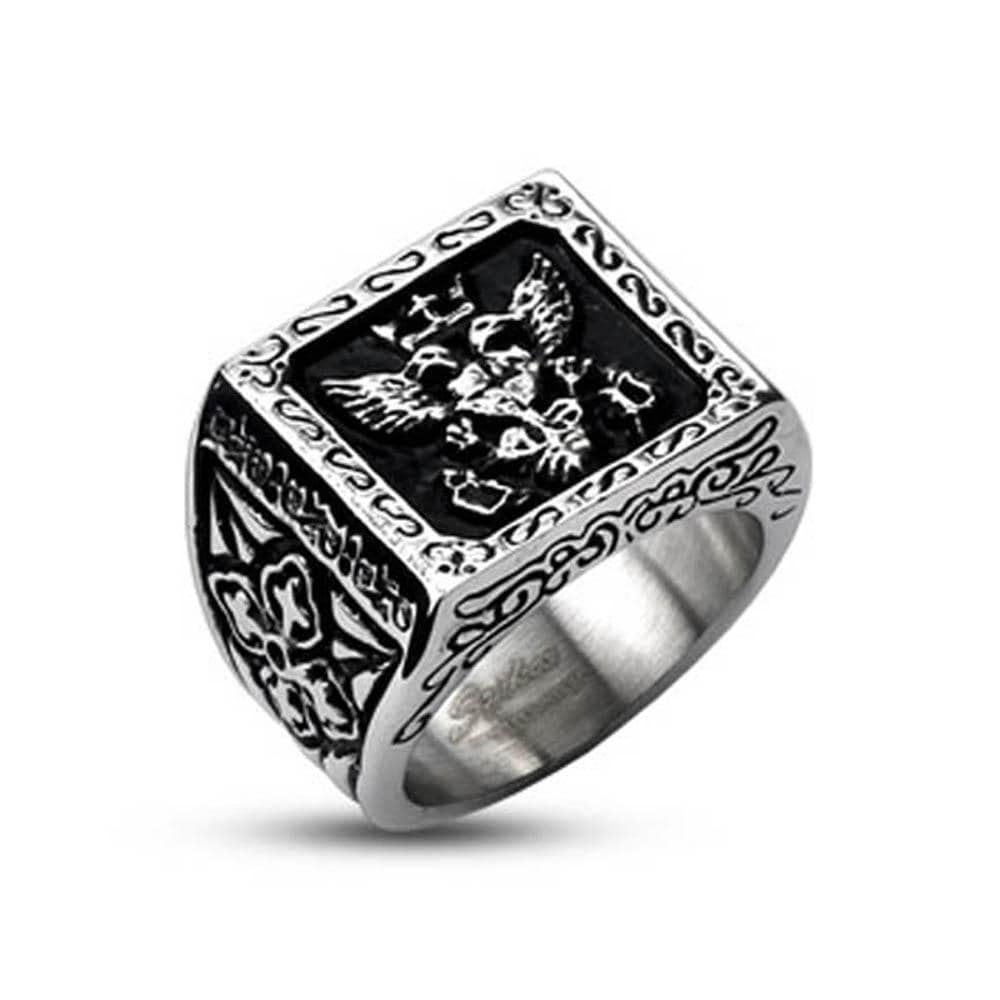 Stainless Steel Royal Empire Shield Cast Band Ring