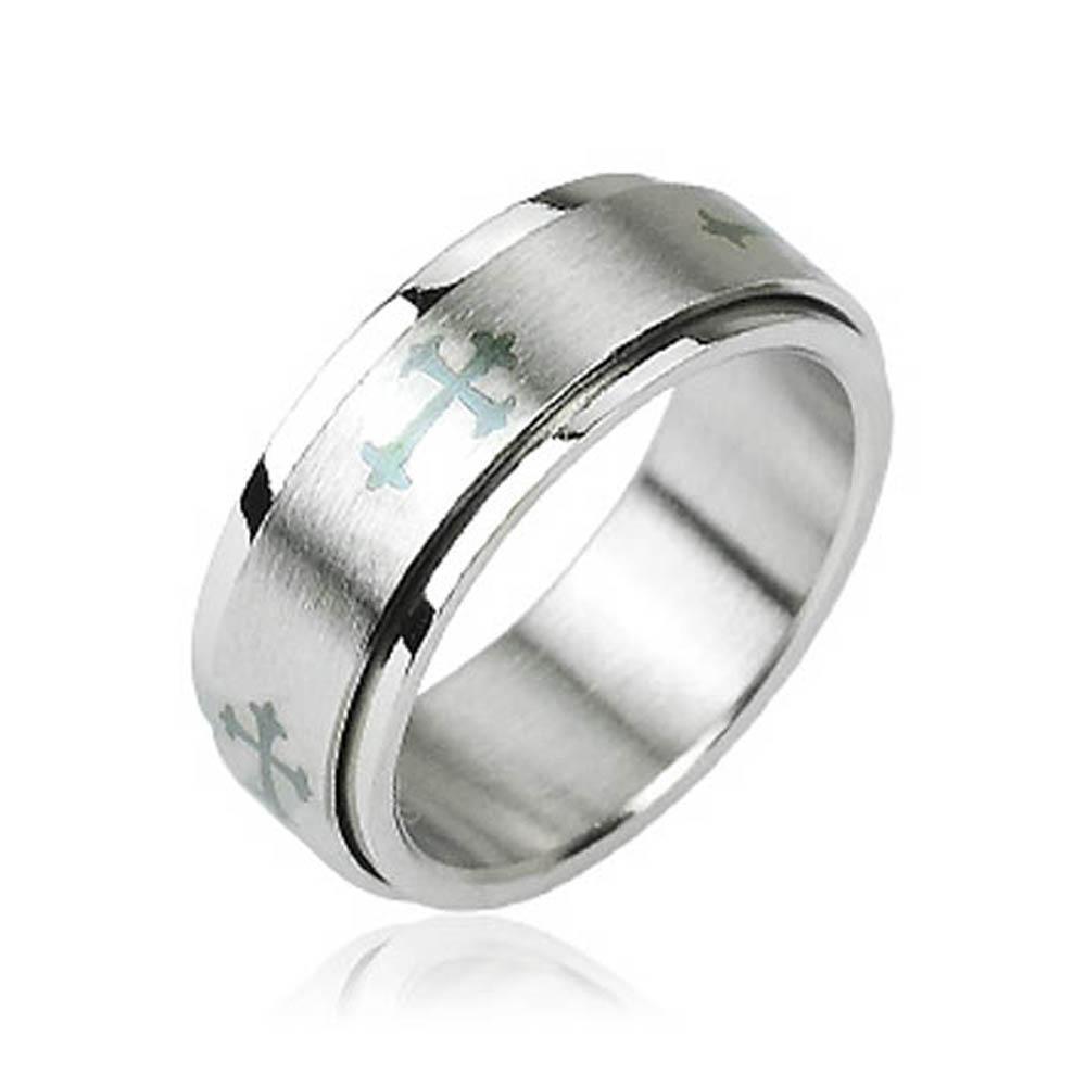 Stainless Steel Celtic Cross Center Spinner Ring