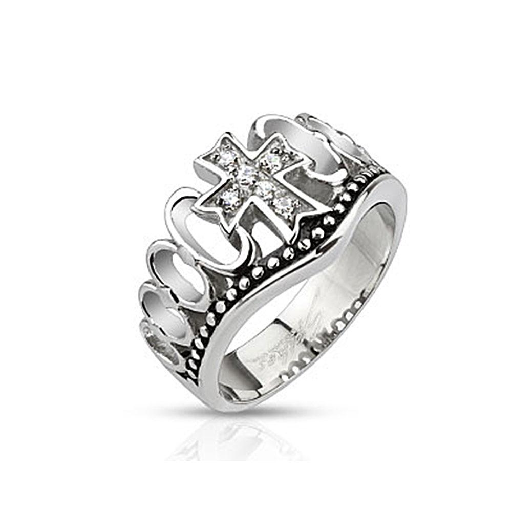 Multi CZ Paved Cross Crown Cast Stainless Steel Ring
